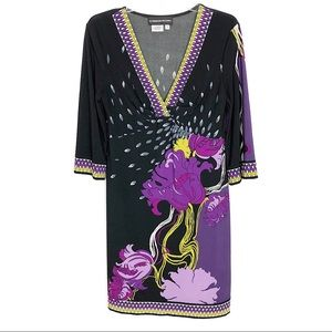 Donna Morgan   Black Faux Wrap Purple Flower Dress